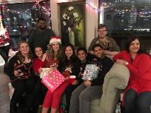 Residents at a Secret Santa Christmas party